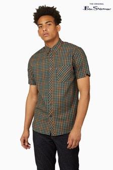 Ben Sherman Green Twill Gingham Overcheck Shirt
