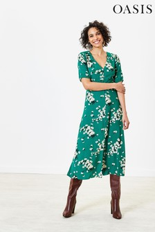 Oasis Green Dandelion Midi Dress
