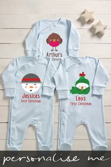 Personalised First Christmas Characters Sleepsuit