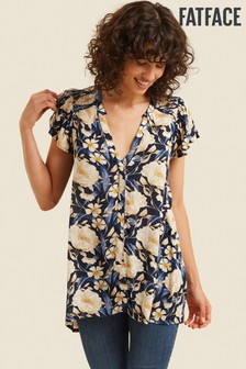 FatFace Blue Helena Blooms Longline Top