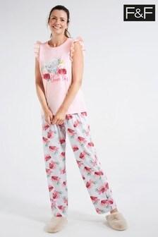 F&F Pink Tatty Teddy Hanging Pyjamas Set