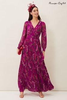 Phase Eight Purple Carmen Pleated Maxi Dress
