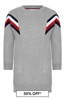 Tommy Hilfiger Girls Grey Cotton Blend Sweater Dress