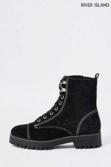 River Island Black Contrast Stitch Lace Boots