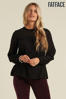 FatFace Black Charlotte Spot T-Shirt