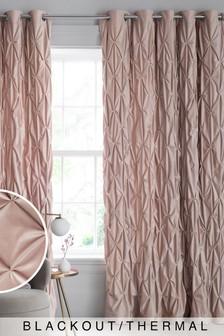 Pink All Over Pleated Luxurious Velvet Eyelet Blackout/Thermal Curtains