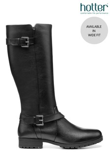 Hotter Black Belgravia Wide Fit Zip Fastening Knee Boots