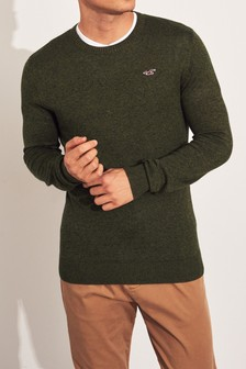 Hollister Olive Core Crew Knit Jumper