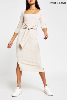 River Island Beige Square Neck Knot Waist Dress