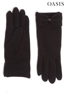 Oasis Black Bow Knitted Gloves