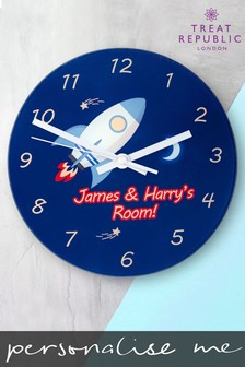 Personalised Rocket Wall Clock by Treat Republic