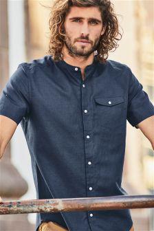 Рубашка без воротника с коротким рукавом из смесового льна с принтом