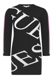 Girls Black Knitted Logo Dress