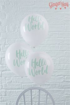 10 Pack Ginger Ray Hello World Balloons