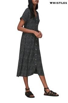 Whistles Geo Print Midi Button Up Dress