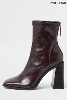 River Island Dark Red Sock Heel Boots