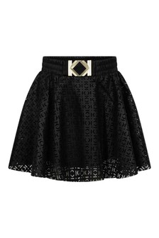 Girls Black Faux Leather Skirt