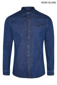 River Island Blue Medium Muscle Denim Shirt