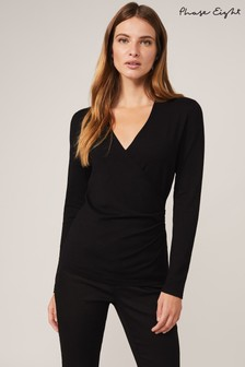 Phase Eight Black Wilma Wrap Knit Top