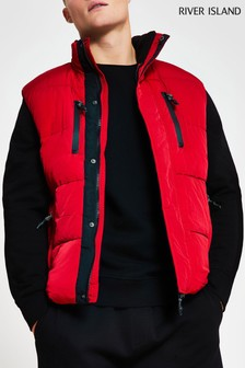 River Island Red Padded Zips Gilet
