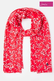 Joules Red Conway Long Line Woven Scarf