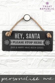 Personalised Santa Stop Here Sign by Treat Republic