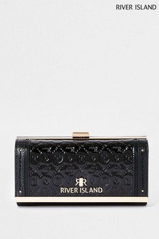 River Island Blue Embossed Patent Clip-Top Bag