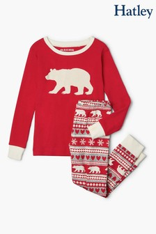 Hatley Bear Fairisle Pattern Kids Appliqué Pyjama Set