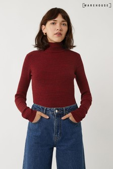 Warehouse Rust Speckle Rib Polo Neck Jumper