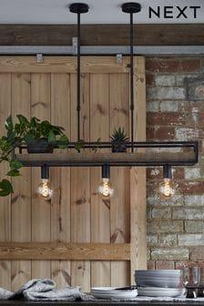 Wood Bronx Shelf Linear 3 Light Pendant Ceiling Light