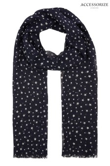 Accessorize Blue Opp Star Print Scarf
