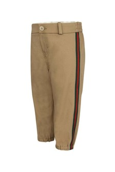 Baby Boys Beige Cotton Trousers