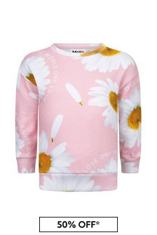 Molo Girls Pink Cotton Sweat Top