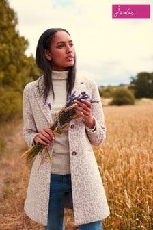 Joules Grey Costello Jacquard Crombie Coat