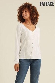 FatFace Ivory Daphne Lace Front T-Shirt
