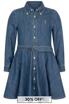 Girls Blue Cotton Denim Shirt Dress