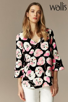 Wallis Black Abstract Poppy Double Flute Sleeve Blouse