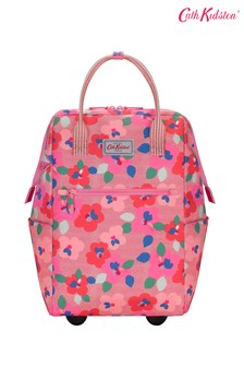 Cath Kidston Red Large Pansy Twill Frame Wheeled Backpack
