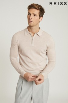Reiss Camel Robertson Merino Wool Zip Neck Polo Shirt