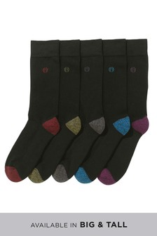 Heel And Toe Cushioned Sole Socks Five Pack