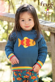 Frugi GOTS Organic Cable Knit Jumper With Fish Appliqué