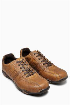 Кожаные туфли на шнурках с отделочными швами