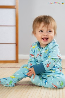 Frugi Organic Babygrow With Integral Scratch Mitts In Helicopter Print