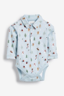 Festive Printed Shirtbody (0mths-2yrs)