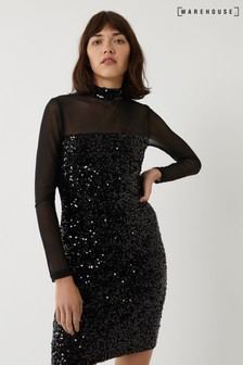 Warehouse Black Velvet Sequin Mesh Mini Dress