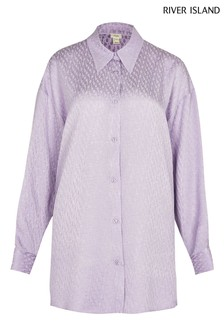 River Island Purple Jacquard Monogram Shirt