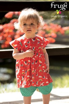 Frugi Red GOTS Organic Cotton Tunic And Shorts Set