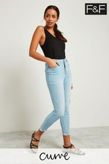 F&F Blue Rippped Low Rise Skinny