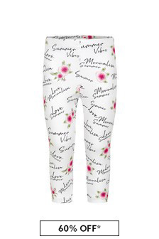 Monnalisa Girls White Cotton Leggings