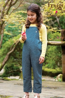 Frugi Organic Blue Linen Dungarees With White Scatter Spot